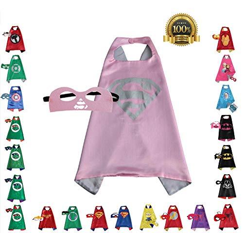 FAJ Girls Super Hero Cape and Mask Dress Up Costume (Supergirl Pink) -