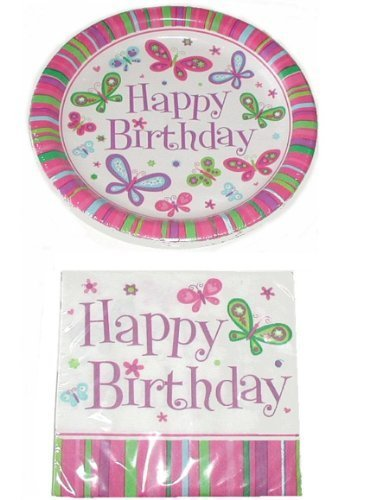 Happy Birthday Butterfly Theme Party Pack - 18 Plates & 20 Napkins - Butterfly Birthday Party Supplies