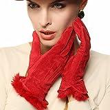 WARMEN Women's Pigskin Suede Leather Winter Lined Gloves Rabbit Fur Trim (Red, S)