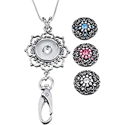 Souarts Womens Office Lanyard ID Badges Holder with 3pcs 5.5mm Size Snap Charms Jewelry Pendant Clip