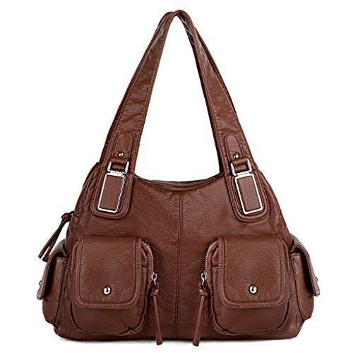 UTO Women Handbag PU Leather Front Zippers Washed Shoulder Bag Brown