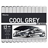Dual Tip Grayscale Markers Pens - Permanent Sketch Cool Grey Tones Art Paints Pen for Illustration, Drawing, Outlining, Shading, Design, Rendering - Set of 12 Colors Includes Colorless Blender