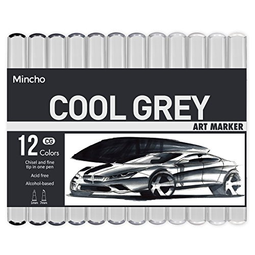 Dual Tip Grayscale Markers Pens - Permanent Sketch Cool Grey Tones Art Paints Pen for Illustration, Drawing, Outlining, Shading, Design, Rendering - Set of 12 Colors Includes Colorless Blender by Mincho