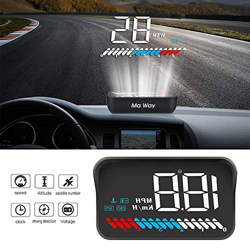 Car Head Up Display, Ma Way Universal HUD GPS/OBD II Dual System Interface, Vehicle Speed MPH KM/h, Engine RPM, OverSpeed Warning, Mileage Measurement, Water Temperature, Voltage ()