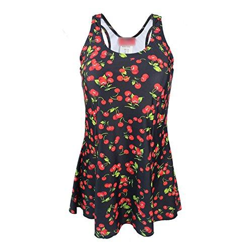 lus Size Ladies Swimsuit Fashion Trend Conservative Boyshort Dress Swimsuit,Cherry Print 162 ()