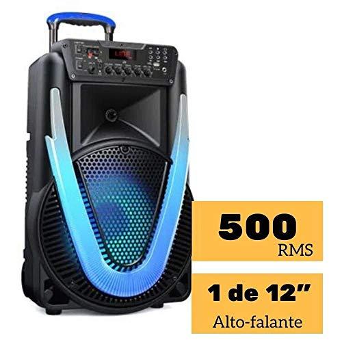 Caixa de Som Amplificada SUNNY II 500W LED 12 Pol. Bluetooth/Aux/SD/USB/FM/P10/TWS Multilaser - SP395