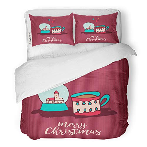 Emvency 3 Piece Duvet Cover Set Brushed Microfiber Fabric Breathable Merry Christmas Cute Xmas Snow Globe and Hot Chocolate Cup Cartoon Holiday Bedding Set with 2 Pillow Covers Twin ()