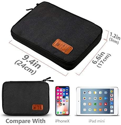 HENMI Universal Travel Cable Organizer Bag Electronic Accessories Carry Case Box with 5pcs Cable Ties,Gray