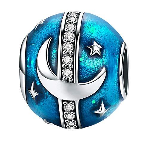 DALARAN Sterling Silver Moon Star Charms for Bracelet Blue Starry Sky S925 Bead Charm