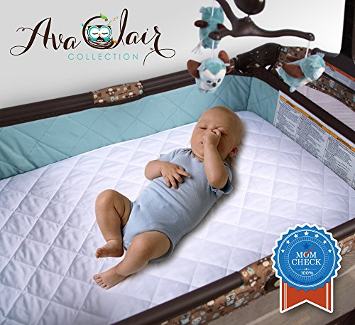 Waterproof Pack N Play Mattress Pad - Fitted Baby Playard Crib Mattress Pad, Mini & Portable Mattresses - Hypoallergenic, Absorbant - 27