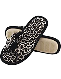 HomeIdeas Women's Open Toe Bow Heeled House Slippers, Indoor Outdoor Shoes with Leopard / Zebra Pattern
