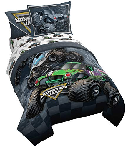 Monster Jam Slash 5 Piece Twin Bed Set – Includes Reversible Comforter & Sheet Set – Bedding Features Grave Digger & Megalodon – Super Soft Fade Resistant Microfiber – (Official Monster Jam Product)