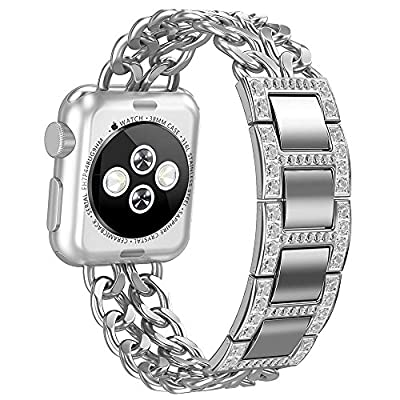 Apple Watch Band, Aokay 38mm 42mm Stainless Steel Metal Cowboy Chain Wrist Band for Apple Watch Series 3 Series 2 Series 1 Sport and Edition