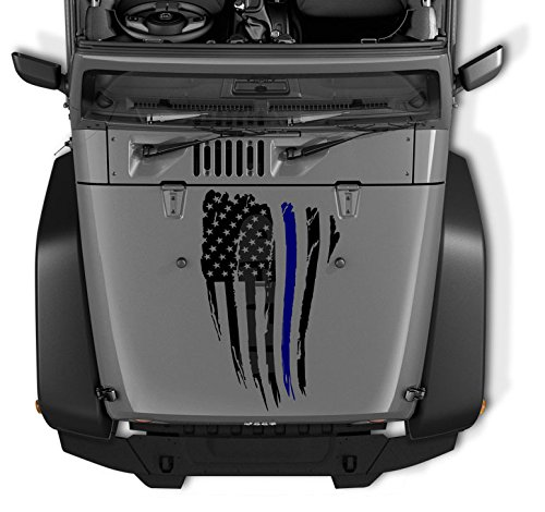 COZA Thin Blue Line Reversed Jeep Wrangler Decal Tattered Distressed USA American Flag USA Made + Free Decal (Black Matte)