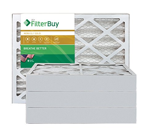 AFB Gold MERV 11 14x24x4 Pleated AC Furnace Air Filter. Pack of 4 Filters. 100% produced in the USA.