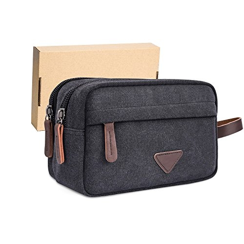 ravel Toiletry Bag, Shaving Dopp Kits with Double Compartments, Bathroom Travel Organizer Cosmetic Bags, Comes with Gift Box by (Black) (Double Compartment Travel Bag)