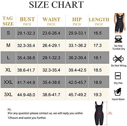 Wonderience Full Body Shaper for Woman Bodysuit Waist Trainer Cincher Corset Tummy Control Thigh Slimmer Shapewear