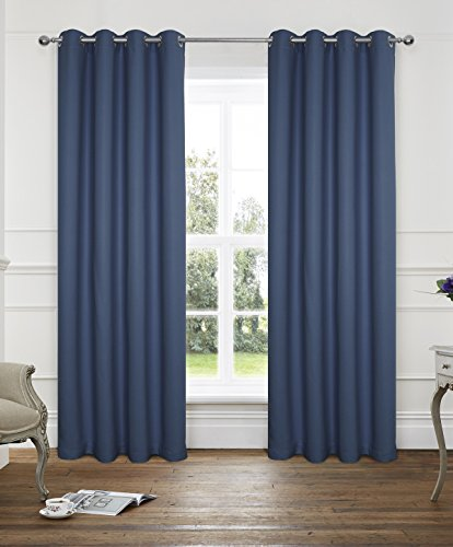 Alexandra Cole 2 Panels Thermal Insulated Solid Grommet 54x84 Inches Blackout Solar Curtains Navy Embossed Herringbone Design Pattern