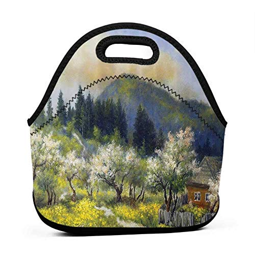 (Neoprene Lunch Bag Lakehouse Decor Collection,Retro Village House in a Small Grass Garden by Trees with Flowers Mountain Picture,Olive White Blue,eagles lunch bag for men)