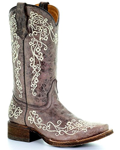CORRAL Girls A2980 Embroidery Square Toe Western Boot