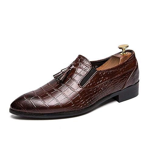 Mocasines de Negocios para Hombres Zapatos de Vestir de Borla Antideslizantes para Hombres con Glamour Zapatos de Vestir para Mostrar Zapatos cómodos: ...