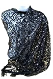 Womens Ladies Fashion Sequins Beaded Shawl Scarf Fringes (Black)