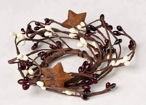 Candle Berry Star Rings - Factory Direct Craft Set of 6 Burgundy and Cream Pip Berries with Rusty Stars Candle Rings