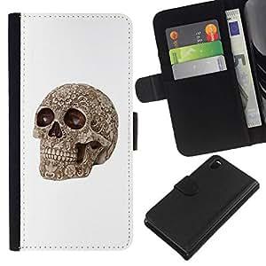 All Phone Most Case / Oferta Especial Cáscara Funda de cuero Monedero Cubierta de proteccion Caso / Wallet Case for Sony Xperia Z3 D6603 // White Skull Pattern Rose Floral Bone
