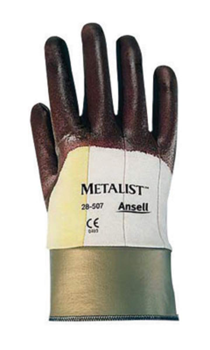 Ansell Size 10 Metalist 28-507 Medium Duty Cut Resistant Brown Nitrile Foam Palm Coated Work Gloves With Two Piece DuPont Kevlar And Cotton Liner And Safety Cuff, 5 Pair