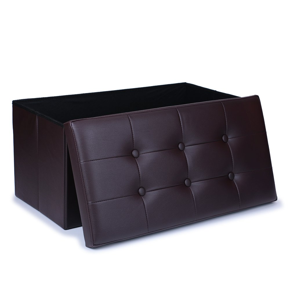 WoneNice Faux Leather Folding Storage Ottoman, Use as Bench, Footstool, Toy Box, Blanket Box,Storage Chest, Padded Seat - 30'' L, Dark Brown