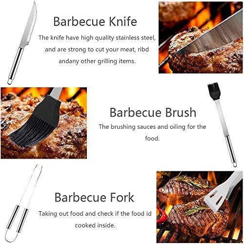HHTT Ensemble d'Outils De Barbecue,5 Pièces Lot d'Ustensiles pour Barbecue,Kit Ustensiles De Barbecue pour Grillades,Kit d'Accessoires De Cuisine De en Acier Inoxydable