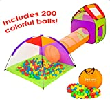 SugarMoon 4pc Children's Playhouse and Pop Up Play Tents with Ball Pit, Tunnel and Ball Pit Balls for Boys, Girls, Kids and Toddlers, Indoor / Outdoor - Perfect Christmas Present Birthday Gift Idea