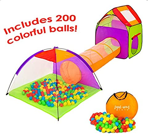 SugarMoon 4pc Children's Playhouse and Pop Up Play Tents with Ball Pit, Tunnel and Ball Pit Balls for Boys, Girls, Kids and Toddlers, Indoor / Outdoor - Perfect Christmas Present Birthday Gift - Christmas Presents