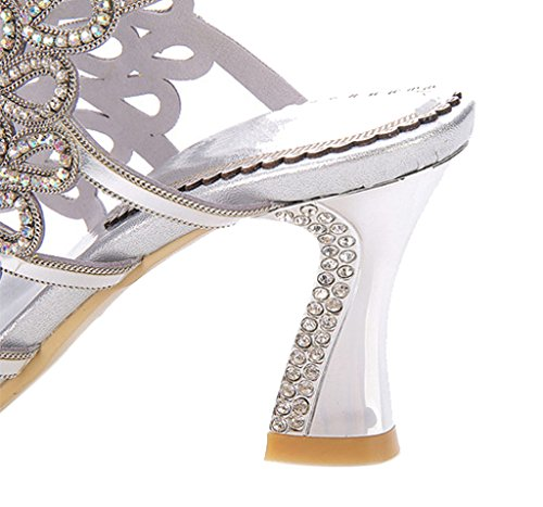 silver Crystal Women's Ankle Dress Sparkle Heels Cutouts pu Sandals Stiletto Party High Slingback Strap 01 45xq5O