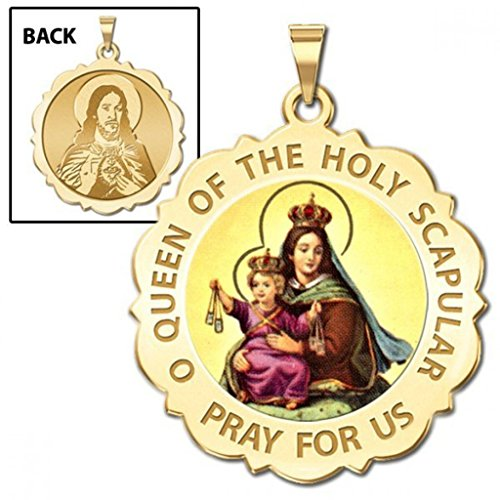 Scapular Scalloped Round Religious Medal Color - 3/4 Inch Size of a Nickel -Solid 14K Yellow Gold (14k Scapular Gold Yellow Medal)