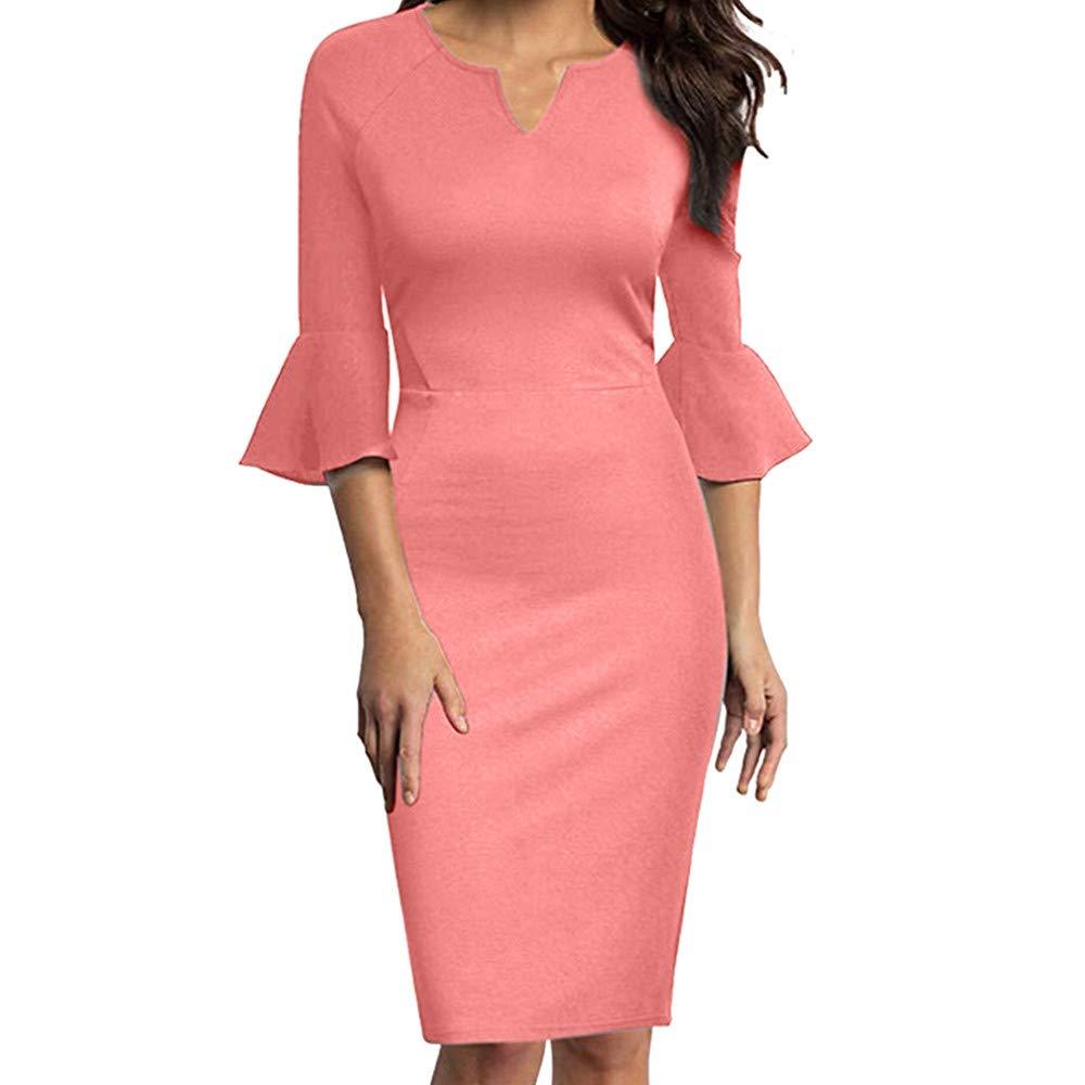 EINCcm Womens Flounce Bell Sleeve Office Work Casual Pencil Dress Bodycon Dress Summer Tight Dress(Pink, M) by EINCcm