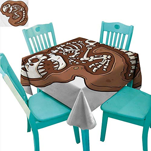 Dinosaur Decorative Textured Fabric Tablecloth Rex Fossil in the Ground Clip Art Style Dead Bones Archeology Prehistory Theme Waterproof/Oil-Proof/Spill-Proof Tabletop Protector 70