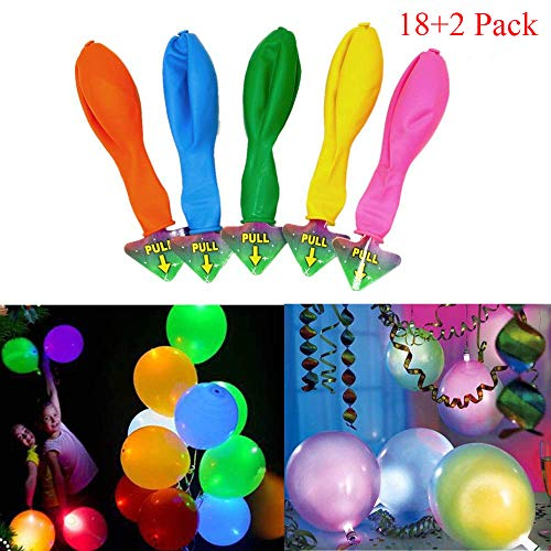 LED Balloons Lights Up 8 Colors Luminous Balloons Flashing Light Glow in Dark for Party 20 Pack