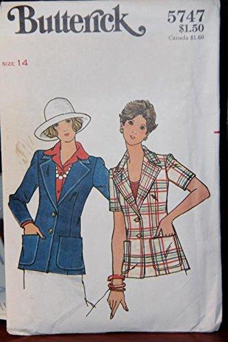 (Vintage Butterick Pattern 5747 Size 14 - Misses' Jacket (uncut pattern, envelope has wear))