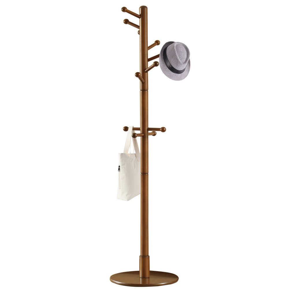 Vlush Solid Wooden Coat Rack, Solid Rubber Wood Entryway Free Standing Hall Tree Coat Tree with Round Base for Coat,Jacket,Hat,Clothes,Purse,Scarves,Handbags,Umbrella-(11 Hooks,Brown)