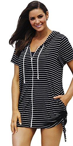 swimsuitsforall Women's Plus Size Stripe Terry Zip Hoodie 18 / 20 Multi