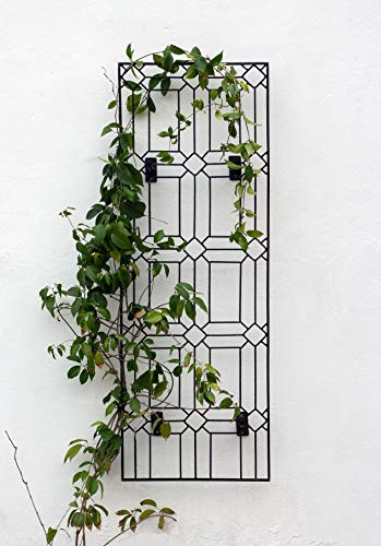 - H Potter Outdoor Metal Wall Decor or Trellis for Climbing Plants Art Garden Panel Roses Vines Privacy Includes Brackets for Hanging GAR258W1