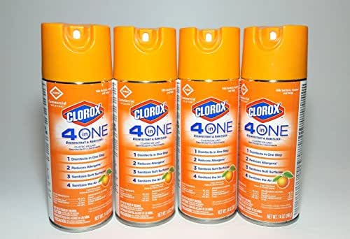 Clorox 4-in-One Disinfectant & Sanitizer Spray, Fresh Citrus, 14oz Aerosol, 4 Per Case