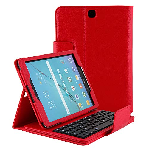 Smart Keyboard Case for Samsung Galaxy S2 Model SM-T810 Tablet Case, Slim Lightweight Stand Cover with Detachable Wireless Bluetooth Keyboard Folio Compatible Samsung S2 9.7 T813/T815 (Red) (Samsung Galaxy S2 Bling Case)