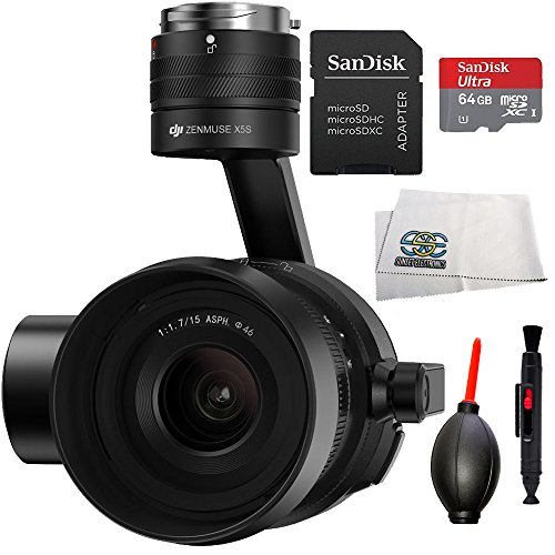 DJI Zenmuse X5S Camera and Gimbal with MFT 15mm f/1.7 ASPH Prime Lens for DJI Inspire 2 Quadcopter Drone Beginner Bundle Includes SanDisk 64 GB mircoSDXC Memory Card + Dust Blower + MORE by SSE