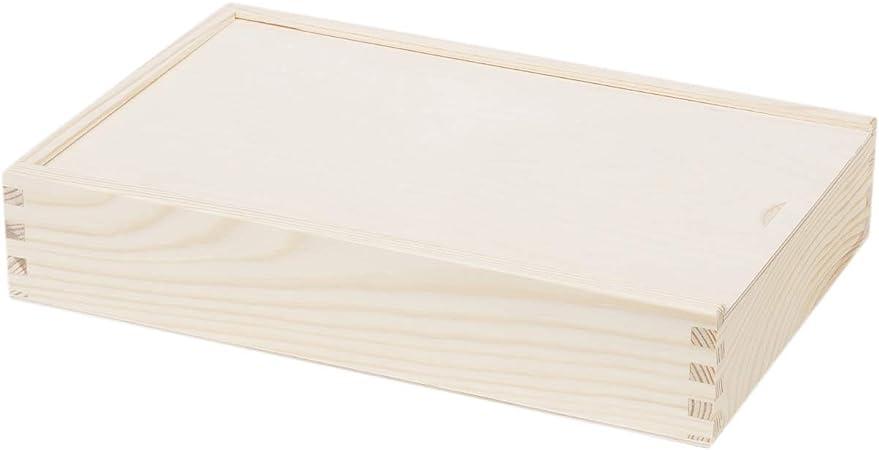 2 compartimiento Caja para guardar 32 x 21 cm lápices compartimento Caja Caja de madera tapa deslizante: Amazon.es: Hogar