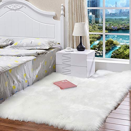 HEBE Faux Fur Rug Sheepskin Area Rug 3X5 ft White Soft Sheep Skin Fur Chair Couch Cover White Area Throw Rug for Bedroom Kids Living Room