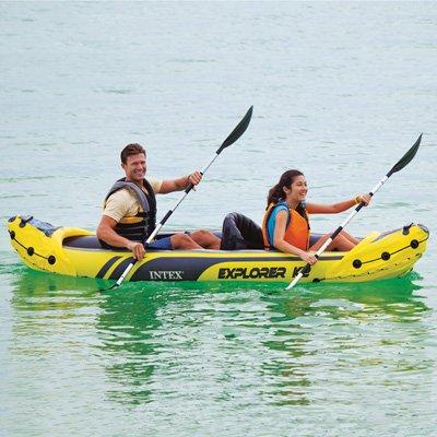 Intex Explorer K2 Kayak, 2-Person Inflatable Kayak Set with Aluminum Oars and High Output Air Pump Folding Canoe
