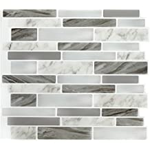 "Peel & Impress 11.25"" x 10"" Marble Grey Oblong Self Adhesive Backsplash Tile (4 Pack)"