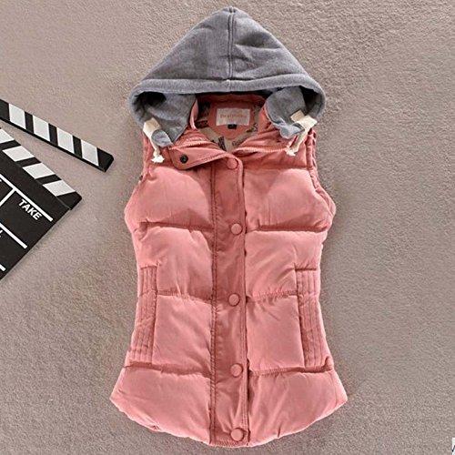ヒープ馬鹿げた固める秋冬フード付コットンノースリーブベスト_pink_XL(着丈62cm、胸98cm)